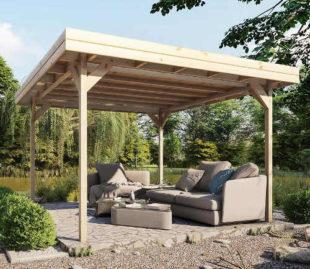 Dřevěný zahradní altán 3,5 x 3,5 metrů bez bočních stěn