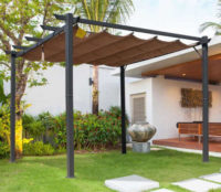 Zahradní hliníková pergola 3 x 3 x 2,23 m s hnědou zatahovací střechou