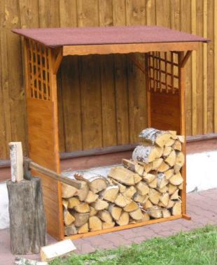 Dřevník130x60x168 cm z borovicového dřeva se stříškou