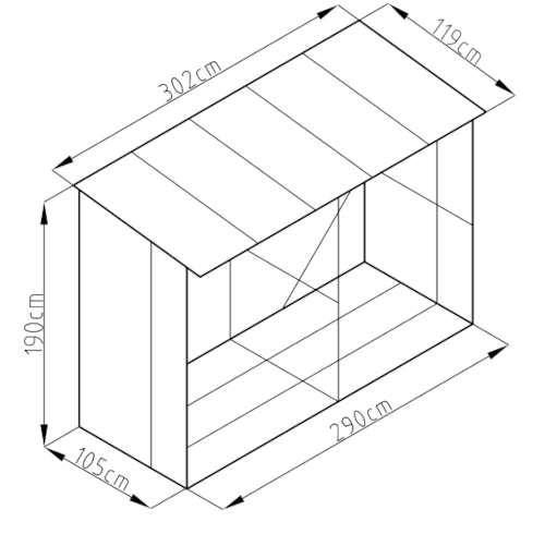 Kompletní rozměry kovového dřevníku