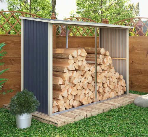Zastřešený plechový dřevník na zahradu