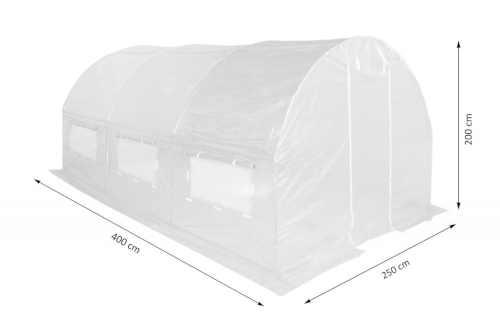 bílý fóliovník s bočními okny
