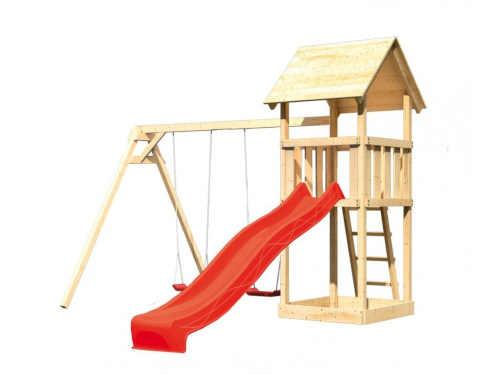 Dětské hřiště se skluzavkou ze smrkového dřeva