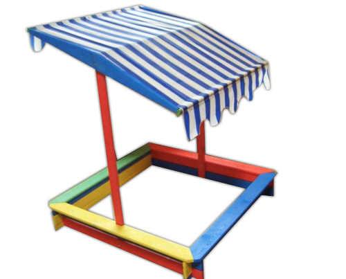 Dřevěné barevné dětské pískoviště se stříškou
