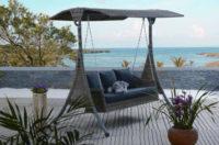 Luxusní zahradní houpačka z umělého ratanu