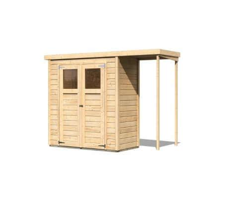 Dřevěný domek s pultovou střechou