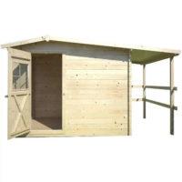 Dřevěný domek se zastřešeným přístřeškem