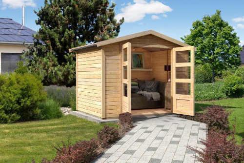 Dřevěný moderní zahradní domek s podlahou