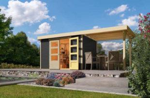 Dřevěný zahradní domek s přístavkem