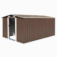 Kovový zahradní domek v hnědém provedení 257x392x181 cm