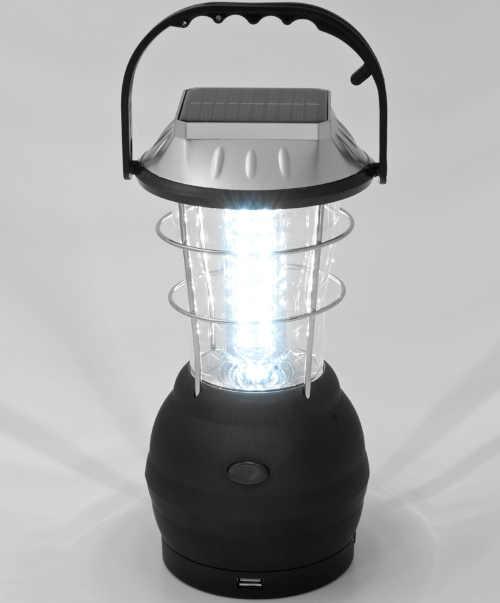 černá solární led lampa