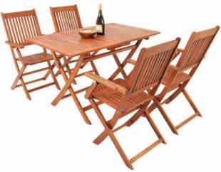 Dřevěný zahradní jídelní set se čtyřmi židlemi