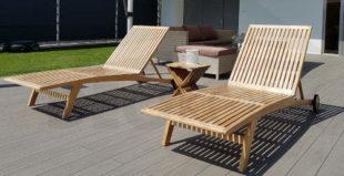 Luxusní lehátko k bazénu z teakového dřeva