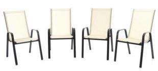 Sada čtyř lehce omyvatelných stohovatelných židlí na balkon nebo terasu